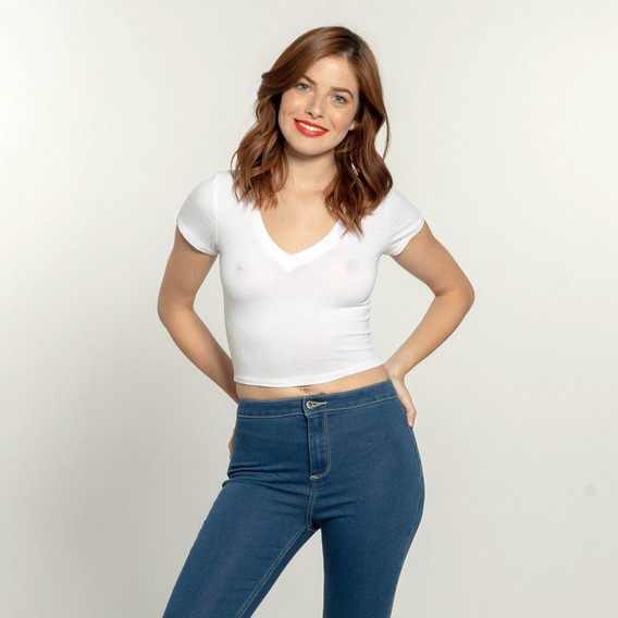 Playera Cuello V Quarry - Jeans