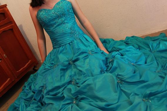 Vestido De Quinceañera, Color Turquesa De Diseñador