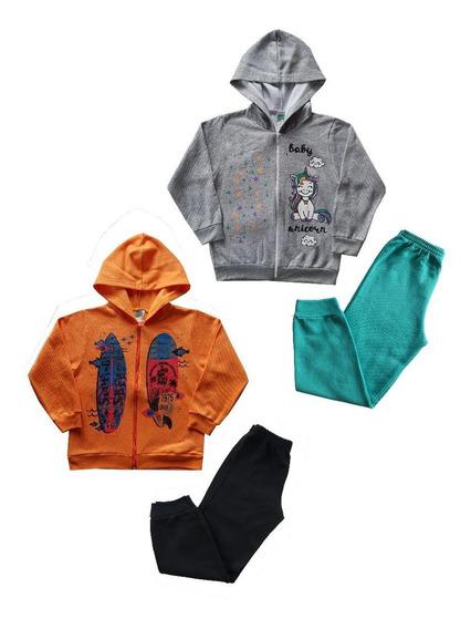 4 Conjunto Moletom Infantil Menino Menina Roupa Inverno Frio