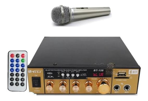 Amplificador Áudio Receiver Bluetooth Karaoke Fm + Microfone
