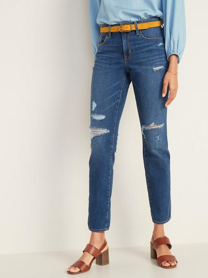 Pantalón Dama Jeans Mezclilla Recto Desgastado Old Navy