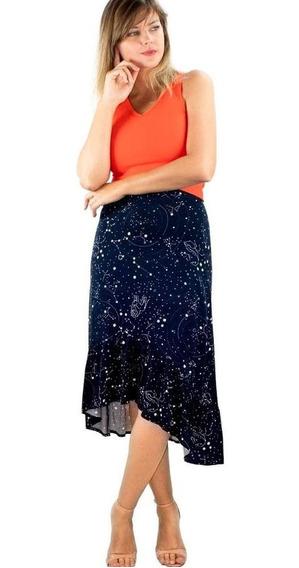 Saia Viscose Mullet Midi Babado Assimétrico Galaxy
