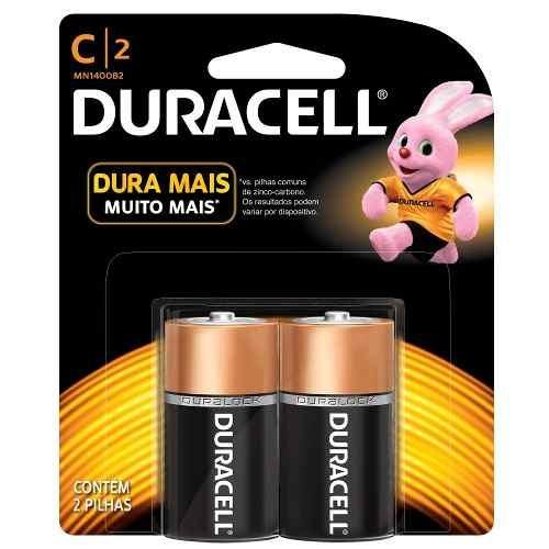 Kit 2 Cartelas - Pilha Duracell C 1,5v Com 2 Unidades