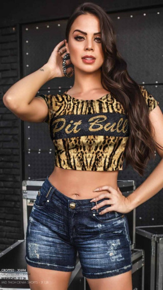 Cropped Feminino Tigrado Original Pit Bull Jeans Ref. 30694