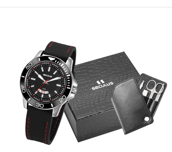 Relógio Seculus Esportivo + Kit Manicure 20791g0svnu1k1 C/nf