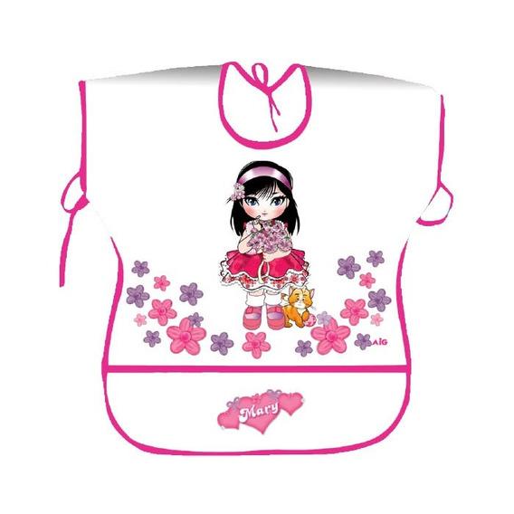 Avental Infantil Menina Estampado Escolar Feminino Rosa 0009