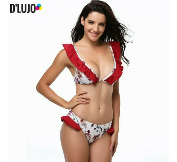 Vestidos De Baño Mujer Bikini Traje Top + Panty Salida Playa
