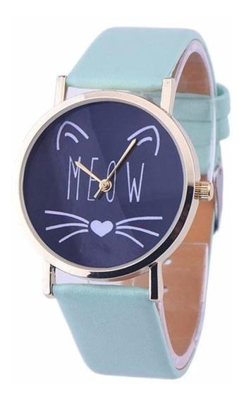 Relógio Verde Menta Gato Meow Divertido Barato Gateira Lindo
