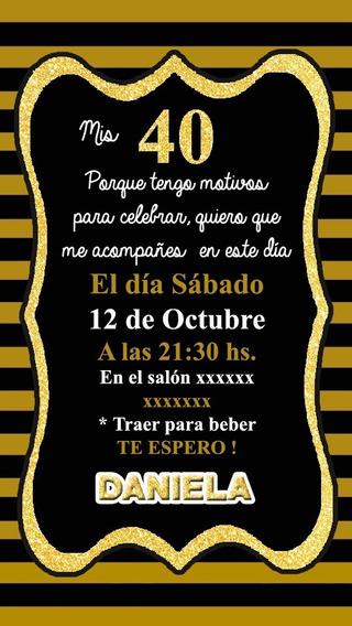 Invitación Tarjeta 15 Años Dorado Digital Imprimible Whatsap