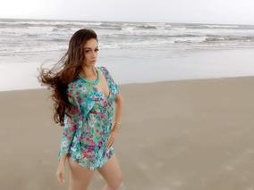 Saída De Praia Estampada Azul Claro Floral Moda Praia Nova