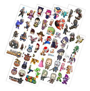 Combo De 8 Planchas De Stickers De Videojuegos Mario Sonic