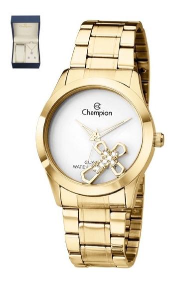 Relógio Feminino Champion Elegance Dourado Conj Ch25909w