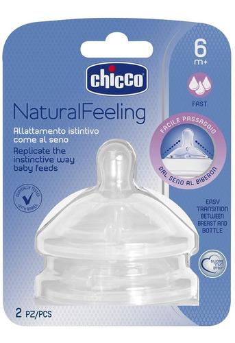 Imagen 1 de 3 de Chicco Tetina Natural Feeling Flujo Rapido 6+ 2 Piezas