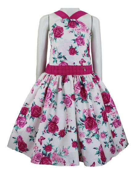 Vestido De Festa Infantil Juvenil Florido Com Gola Em V