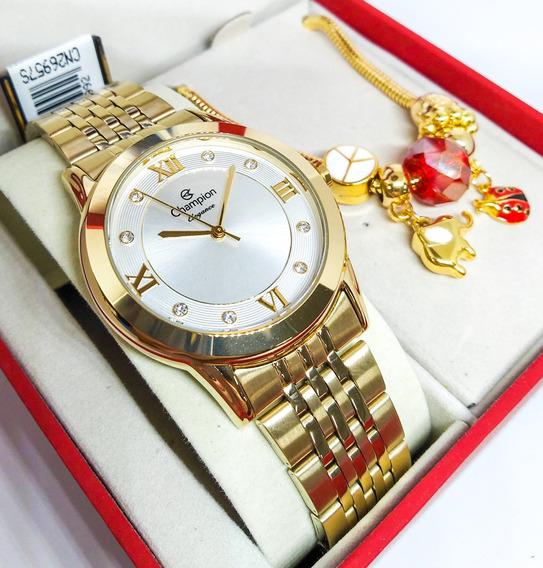 Relógio Champion Feminino + Pulseira Cn26957s Nfe/original