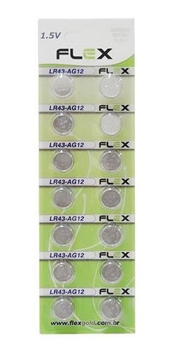 Flex Gold Bateria Alcalina Lr43 Ag12 Cartela Com 14 Un