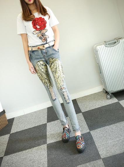 Jeans Con Alas De Lentejuelas
