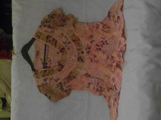Camisola M/c Bordada Rosa/violeta Importada Brasil T S