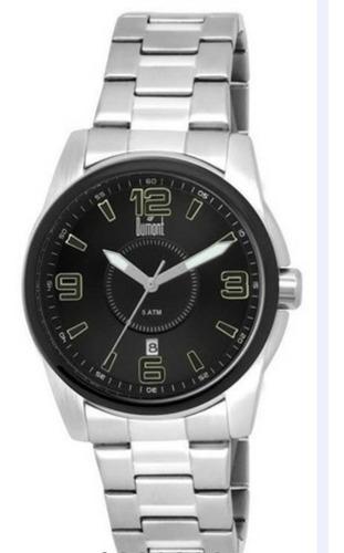 Relógio Masculino Grande Dumont Mostrador Preto Número Verde