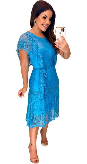 Vestido De Renda Festa Azul Moda Evangelica Lancamento