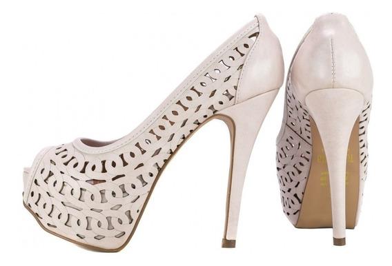 Sapato Peep Toe Social Luxo Alto Fino Meia Pata Nude Noiva