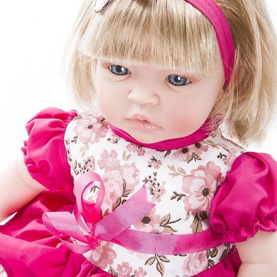 Boneca Baby Kiss Menina Loira Tipo Reborn Chora E Balbucia