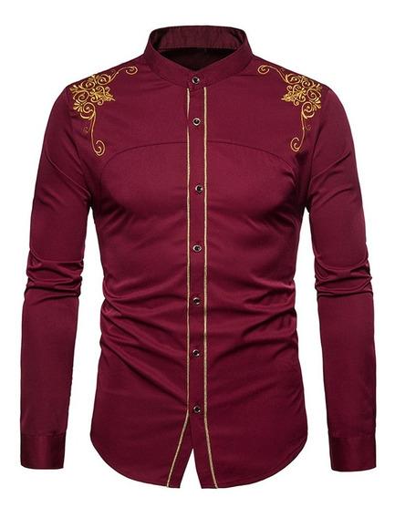Camisa Hombre Cuello Mao Vintage Bordado Tacto Suave