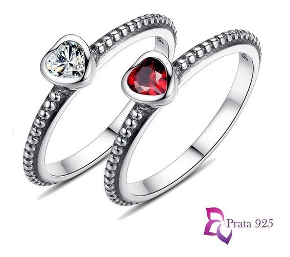 Anel Prata 925 Inspiração Pandora Eterno Coração Zircônia