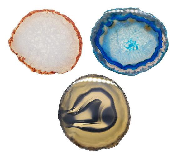 3x Ágata Natural Quartzo Cristal Fatia Coaster Casa Ornament