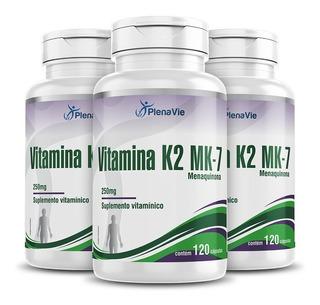 Vitamina K2 Mk-7 Menaquinona 3x 120 = 360 Cápsulas Softgel