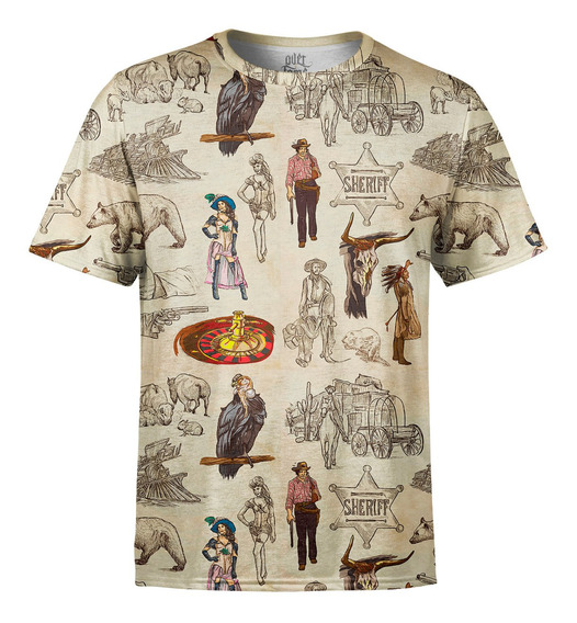 Camiseta Masculina Velho Oeste Estampa Digital