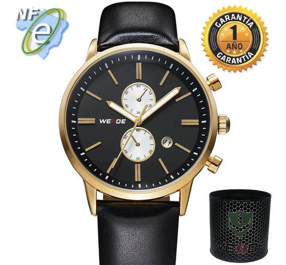 Relógios De Couro Masculinos Original Casual Analógico Preto