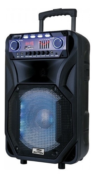 Caixa De Som Sumay Karaoke Bateria Mic S/fio Bluetooth