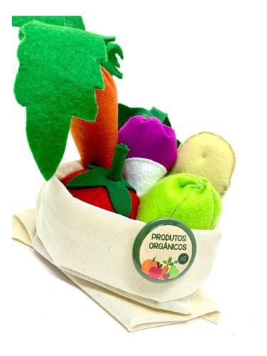 Imagem 1 de 5 de Comidinha Em Feltro Kit Pedagógico Frutas Legumes Na Ecobag