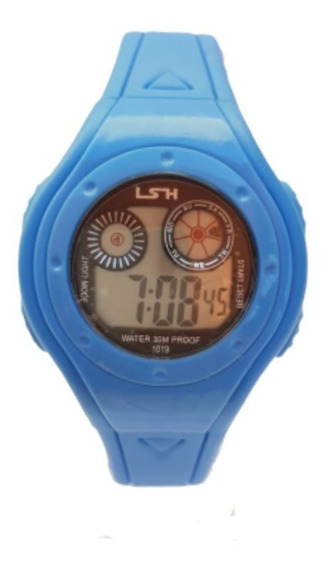 Relógio Digital Lsh Masculino Menino Led Luz Criança Jovem