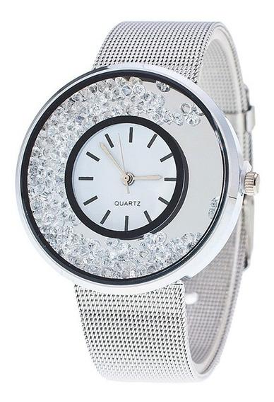 Relógio Feminino Luxo Prata/diamantes
