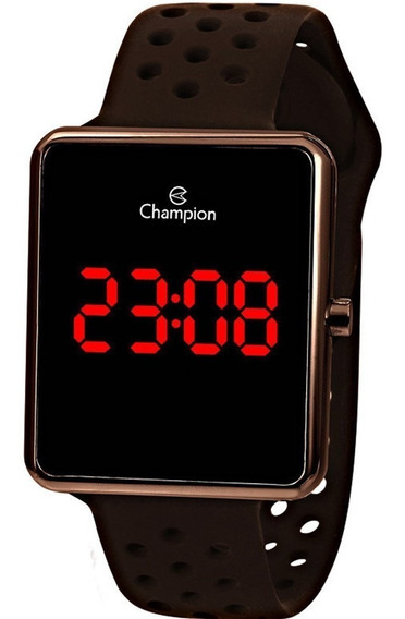 Relógio Champion Masculino Digital Marrom Led Ch40081m