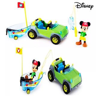 Mickey 4x4 Disney + Barco Vehículo Bote Figura + Accesorios