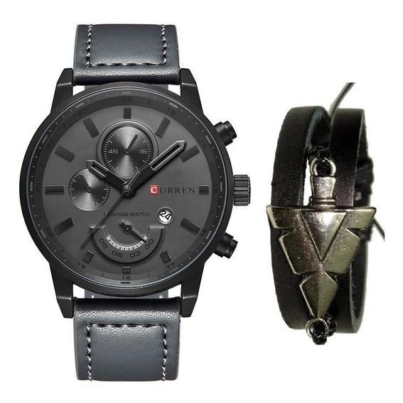 Relógio Masculino Original Curren Luxo + Pulseira De Couro