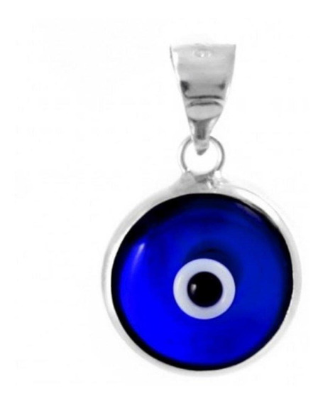 Dije Ojo Turco De Plata 925 Con Cristal Azul Marino. Hecho E