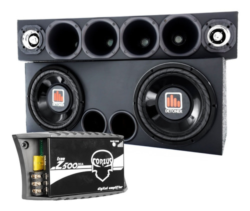 Caixa 2 Sub 12   +corneteira 4driver  2tweeter+ Amplificador