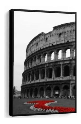 Quadro Decorativo Coliseu Tons Vermelho Sala Casa C/ Moldura