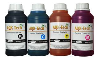 Combo Tinta Premium Aqx 250ml X 4u Sistema Continuo Y Cartuchos Recargas Para Impresoras Epson