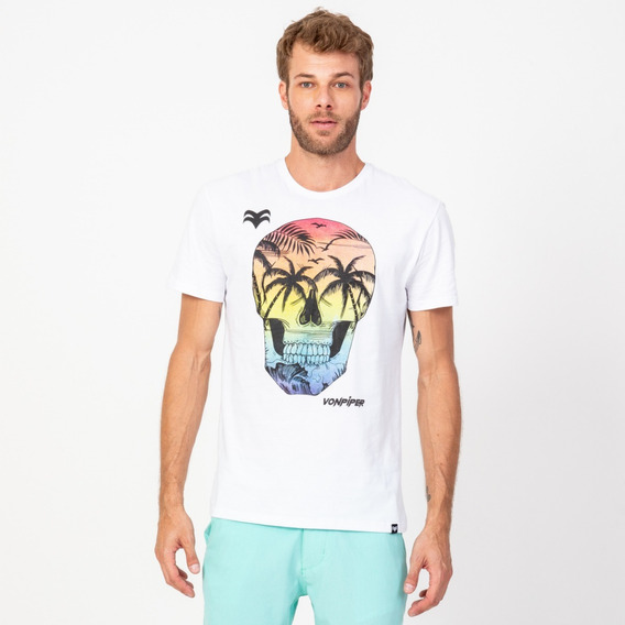 Camisa Casual Masculina T-shirt Caveira Paradise Branca