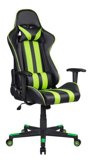 Cadeira de escritório Pelegrin 3013 ergonômica preta e verde con estofado do couro sintético