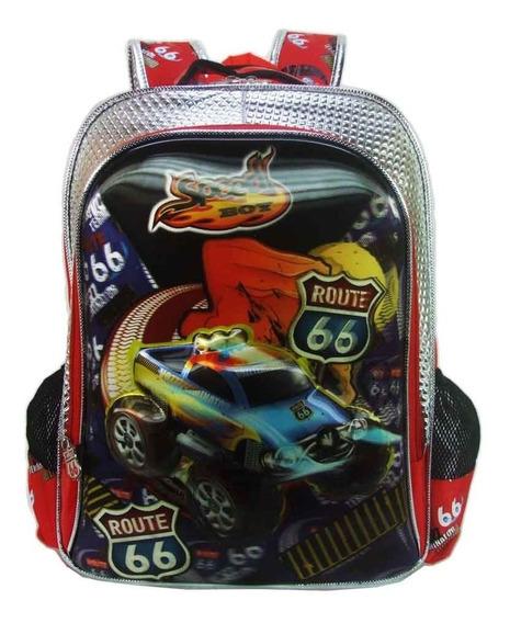 Mochila Escolar Infantil Menino Speed Boy Route 66 Relevo 3d