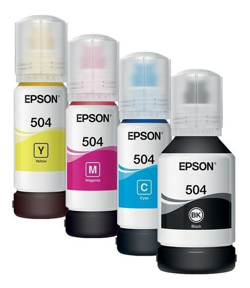 Pack 4 Botellas Tinta Continua Epson T504 L4150 L4160 L6161