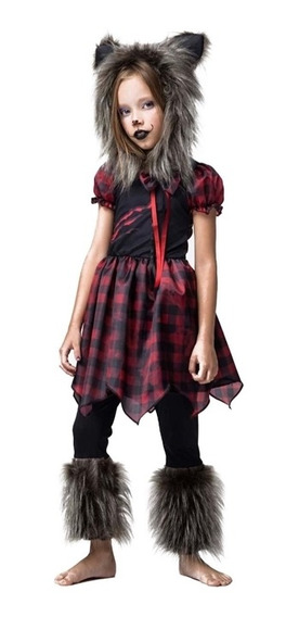 Roupa De Halloween Lobo Mal Infantil Feminina Pronta Entrega