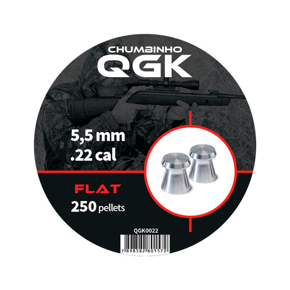Chumbinho Flat 250 Pellets/pote 5,5mm - Qgk