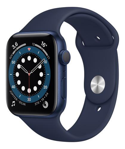 Imagem 1 de 8 de Apple Watch  Series 6 (GPS) - Caixa de alumínio azul de 44 mm - Pulseira esportiva marinho-escuro
